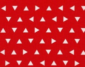 Tribal Fabric, Geometric Fabric, Red and White Fabric by Ann Kelle- Remix Triangles in Aqua. Fabric by the Yard, Free Shipping Available