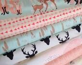 Hello Bear fabric bundle, Deer fabric, Bear fabric, Woodland animals by Bonnie Christine, Art Gallery Fabrics, Bundle of 8- Choose the Cut