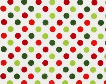 Christmas Fabric, Cotton Fabric, Red and Green Fabric by Ann Kelle and Fabric Shoppe- Spot On Medium Dot in Holiday. Free Shipping Available