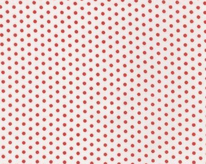 Spot On fabric, Red and White Polka Dot Fabric by Robert Kaufman, Spot On Mini Dot in Poppy. Fabric By the Yard. Free Shipping Available