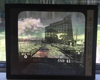 Keystone Glass Negative of Ashley , PA Coal Railroad Yard