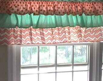 Custom Designer 3 Tier Ruffled Valance Window Treatment You Choose Fabric(s) & Customize