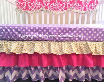 Hot Pink & Purple With Gold Metallic Damask Dots and Chevron Custom Scalloped Ruffled Crib Rail Cover 3 Tier Boutique Bedding Set READY NOW