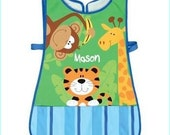 Personalized Stephen Joseph Zoo Unisex Apron Smock Paint, Craft, Artist Apron, Childrens Craft Apron, Coverup, Washable, Art Apron, Toddler
