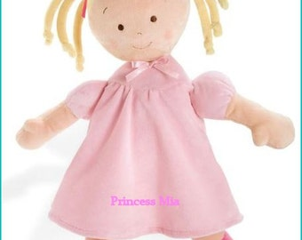 "Personalized Cloth Baby Doll, First Doll, 16"" Rag Doll, Shower Gift, Toddler Doll, Princess Doll, Blonde Doll, Cloth Doll, Toy Doll, Safe"