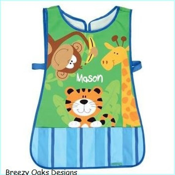 Personalized Stephen Joseph Zoo Unisex Apron Smock Paint, Craft, Artist Apron, Childrens Craft Apron, Coverup, Washable, Art Apron, Toddler