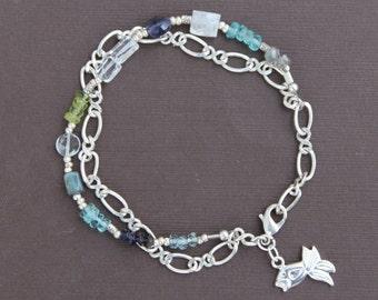 Labradorite Apatite Aquamarine Gem Mix Double Strand Handcrafted Bracelet with Silver Fish Charm