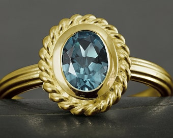 Blue topaz engagement ring in solid gold, 10kt 14kt, 18kt, white gold, yellow gold, rose gold, victorian, antique style