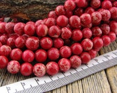 8mm Impression Jasper beads Smooth Round Beads Red Sea Sediment, Aqua Terra Jasper, 8 mm Red Stone Beads
