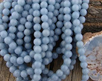 8mm Blue Angelite Smooth Round Beads - Blue Anhydrite Gemstone Beads - Natural 8 mm Beads - Soft Blue Beads, Natural Gemstones, Large Beads