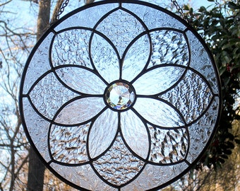 Clear Textures Stained Glass Round Mandala Suncatcher