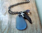 The Wings of Faith Necklace Gunmetal Long Statement Jewelry Spiritual Jewelry Sea Glass Religious Mothers Day Gifts Gifts Under 40 OOAK