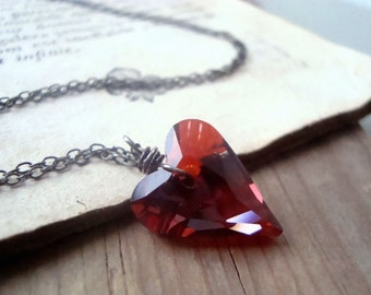 Red Crystal Heart Necklace Swarovski Sterling Silver Valentines Jewelry Heart Jewelry Crystal Jewelry Bridesmaids Gifts For Her