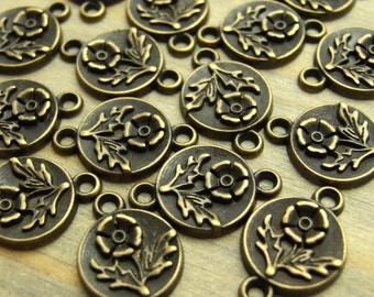 Flower Connectors - 12 pcs - Antiqued Brass Finish - Floral Charms - Patina Queen