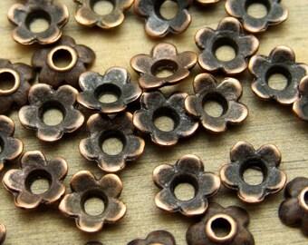 50 pcs 6mm Antique Copper Daisy Bead Caps - Antique Copper Finish - Patina Queen - 6 grams