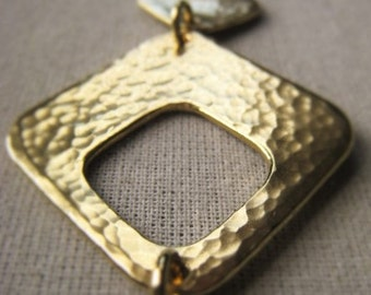 Gold  Square Pendant Hammered Bronze Pendant Item No. 1238