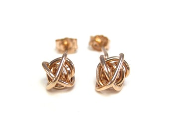 Pink Gold Stud Earrings, Rose Gold Knot Studs, Pink Gold Earrings