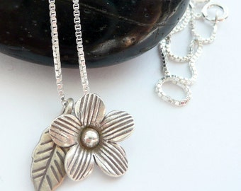 Artisan Handcrafted Karen Hill Tribe Fine Silver Solitaire Forest Flower with Leaf Charm Boho Hippie Gift for Her Sterling Silver Neclace