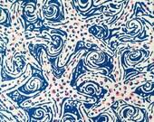 "lilly pulitzer's indigo star crush poplin cotton fabric square 18""x18"""