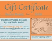 GIFT CERTIFICATE Basic Custom Leather Apron