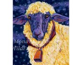 Original Sheep Painting - Fleece On Earth Starry Night Sheep, sheep art, purple sheep, sheeo print, kids decor, nursery decor, country decor
