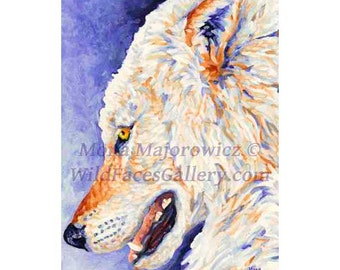 Timber Wolf Art, Wolf Gifts - White Wolf Open Editon Mini Print, Wolf decor, Cabin decor, wolf print, cabin gofts,wolf pack, wolves