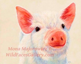 Canvas Pig Print, Pig Art, nursery decor, kids decor, kitchen decor, country decor, pig gifts, baby pig painting, kitchen art, farm decor