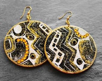 African Earrings, Tribal Earrings, Tribal Print, African Jewelry, Wood Earrings, For Her, Tribal Marks Bejeweled Wood Earrings V2