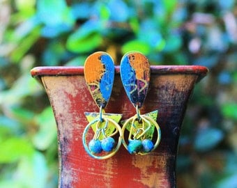 Vintage Brass Earrings, Hand Painted Brass Earrings, Colorful Earrings, Post Earrings, Indian Summer Hand Painted Brass Post Earrings