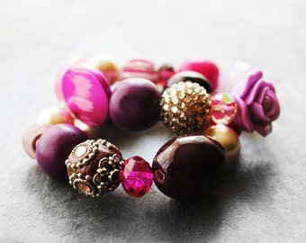 Beaded Bracelets, Stretch Bracelets, Chunky Bracelets, Bracelet Set, Green, For Her, Kollage Magenta Sunset Beaded Stretch Bracelet