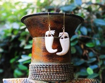 African Earrings, Tribal Earrings, Elephant Earrings, Bone Earrings, Elephant Jewelry, Ngorongoro Carved Bone Elephant Tusk Earrings