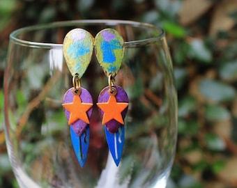 Vintage Brass Earrings, Hand Painted Brass Earrings, Colorful Earrings, Post Earrings, Star Baby Hand Painted Brass Post Earrings
