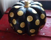 Hand Painted Pumpkin Black and Gold Mackenzie Childs Inspired