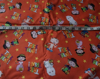 Kids Children in Costume Trick or Treat Orange Halloween Fabric - 2 yards