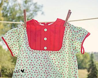 SALE!!!   1960's Style Red Tuck dress girls children