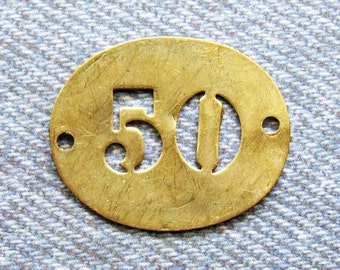 French Brass Number 50 Tag Antique Stencil Room Key Fob Numbered ID Relic Repurpose Jewelry Hardware