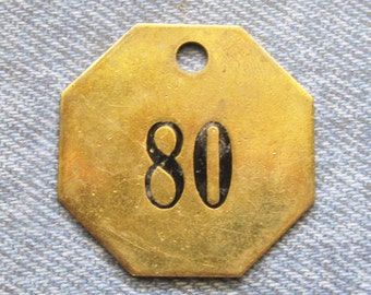Brass Number Tag Room 80 Antique Skeleton Key Fob Octagon Painted Motel ID Repurpose Retro Industrial Hardware