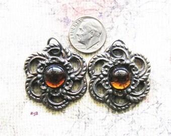 Filigree Rosette Escutcheon Necklace Pendants Antique Brass Floral Medallion Hardware Jewelry Findings Topaz Embellishment