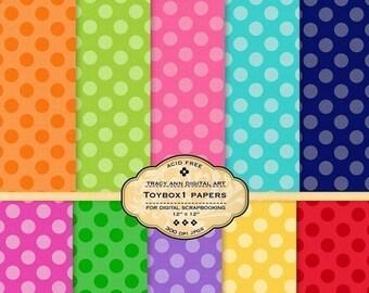 Polka Dot Paper Pack for invites, card making, digital scrapbooking - Toybox 1