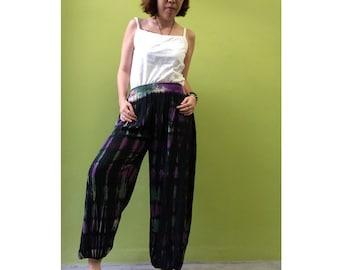 Boho Hippie Gypsy Tie Dye Rayon Smock Waist Long Aladdin Pants S-L (PR 4)