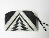 Wool Zippered Pouch Coin Purse Change Purse Accessory Organizer Black White Native American Print