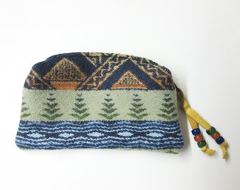 Beaded Zippered Pouch Coin Purse Change Purse Accessory Organizer Wool from Pendleton Oregon