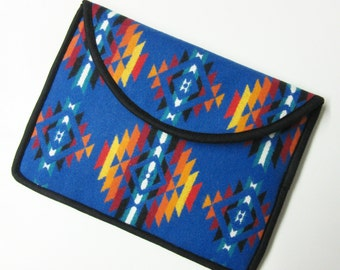 "13"" MacBook AIR or Macbook Pro RETINA Laptop Cover Sleeve Case Wool Southwest Style Blue Sapphire"