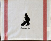 More Exclusive Scottie Designs embroidered on Vintage type Dish Towels with Stripes
