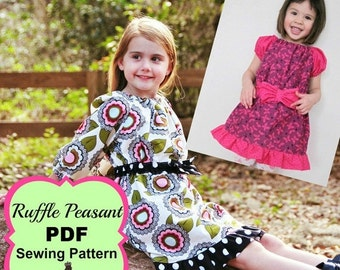 SALE Ruffle Peasant Dress Sewing Pattern for girls sizes newborn through 12 youth PDF Whimsy Couture
