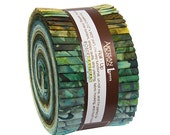 """SALE 30% Off Lunn Studios Color Source Batiks Roll Up 2.5"""" Fabric Quilting Strips Jelly Roll Robert Kaufman RU-475-40"""