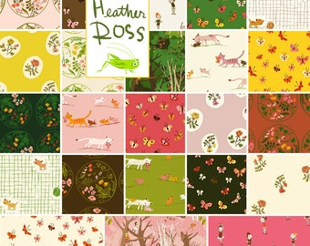 SALE 20% Off + Free Ship Heather Ross TIGER LILY Fat Quarters 23 Precut Cotton Fabric Quilting FQs Windham