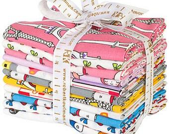 SALE 50% Off Suzy Ultman Oui Oui Paris Fat Quarter Bundle 11 Precut Cotton Fabric Quilting FQs Robert Kaufman FQ-988-11