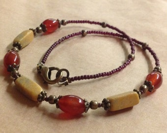 Handcrafted Earthy Autumn Necklace - Carnelian - Marble - Brass - Free U S A Shipping