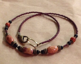 Handcrafted Earthy Autumn Necklace - Wood Beads - Glass - Brass